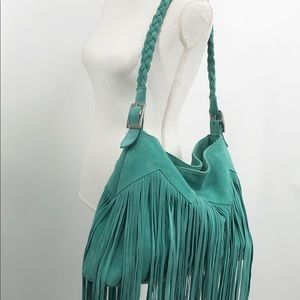 *Anthropologie | Teal Fringe Hobo Purse